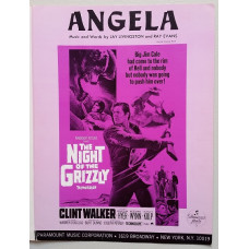 "The Night of the Grizzly - ""Angela""  Sheet Music- Song by Clint Walker"